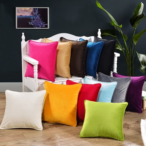 18*18 Simple Style Solid Color Throw Pillow Case Soft Cushion Cover Sofa Chair Bed Decorative Square Pillow Cover 45*45cm PillowHome &amp; Garden<br>18*18 Simple Style Solid Color Throw Pillow Case Soft Cushion Cover Sofa Chair Bed Decorative Square Pillow Cover 45*45cm Pillow<br>