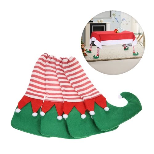 4pcs/set Christmas Table Chair Leg Covers Set for Square Round Legs Christmas Decorations Ornaments--Green Elf Shoe Style