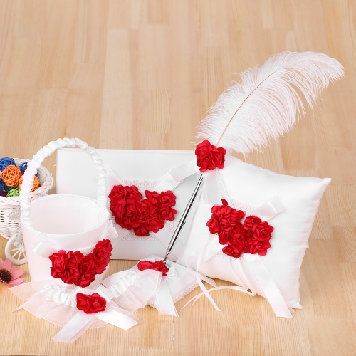 5pcs/set Satin Flower Girl Basket + 7 * 7 inches Ring Bearer Pillow + Guest Book + Pen Holder + Bride Garter Set Wedding Supplies-Home &amp; Garden<br>5pcs/set Satin Flower Girl Basket + 7 * 7 inches Ring Bearer Pillow + Guest Book + Pen Holder + Bride Garter Set Wedding Supplies-<br>
