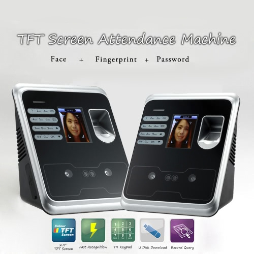 2.4 TFT Fingerprint Face Recognition Attendance Machine Time Clock Recorder Employee Check-in Reader USB SupportHome &amp; Garden<br>2.4 TFT Fingerprint Face Recognition Attendance Machine Time Clock Recorder Employee Check-in Reader USB Support<br>
