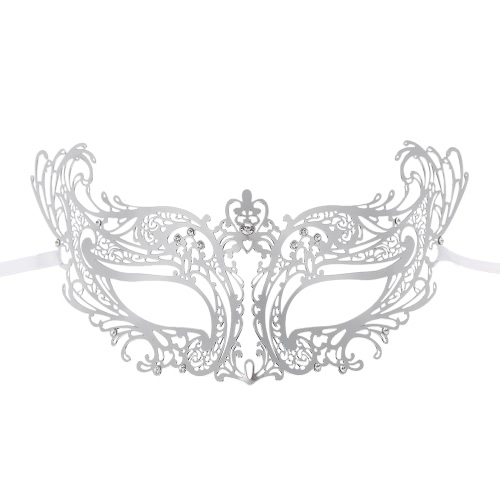 Festnight Fashionable Silver Laser Cut Metal Half Mask with Rhinestones Masquerade Ball Halloween Mask Fancy GiftHome &amp; Garden<br>Festnight Fashionable Silver Laser Cut Metal Half Mask with Rhinestones Masquerade Ball Halloween Mask Fancy Gift<br>