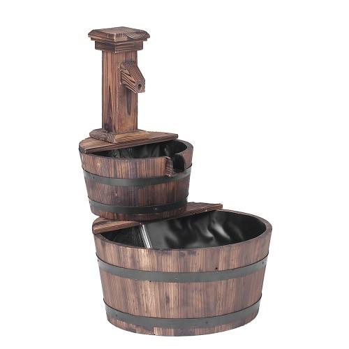 iKayaa 3 Tier Wood Barrel Outdoor Water Fountain W/ Pump Leak-Proof Cascading Water Feature Garden Patio DecorationHome &amp; Garden<br>iKayaa 3 Tier Wood Barrel Outdoor Water Fountain W/ Pump Leak-Proof Cascading Water Feature Garden Patio Decoration<br>