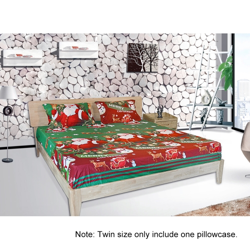 3pcs/set Christmas Santa Bedding Set Micro Fiber 3D Printed Fitted Bed Sheet + Pillowcase + Bed Sheet Set Christmas Bedroom DecoraHome &amp; Garden<br>3pcs/set Christmas Santa Bedding Set Micro Fiber 3D Printed Fitted Bed Sheet + Pillowcase + Bed Sheet Set Christmas Bedroom Decora<br>