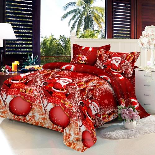 Christmas Santa Bedding Set Polyester 3D Printed Duvet Cover + 2pcs Pillowcases + Bed Sheet Set Christmas Bedroom DecorationsHome &amp; Garden<br>Christmas Santa Bedding Set Polyester 3D Printed Duvet Cover + 2pcs Pillowcases + Bed Sheet Set Christmas Bedroom Decorations<br>