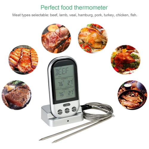 Wireless Digital Food BBQ Cooking Thermometer Timer Backlight LCD Temperature Gauge with Transmission Dual Probes--SilverHome &amp; Garden<br>Wireless Digital Food BBQ Cooking Thermometer Timer Backlight LCD Temperature Gauge with Transmission Dual Probes--Silver<br>