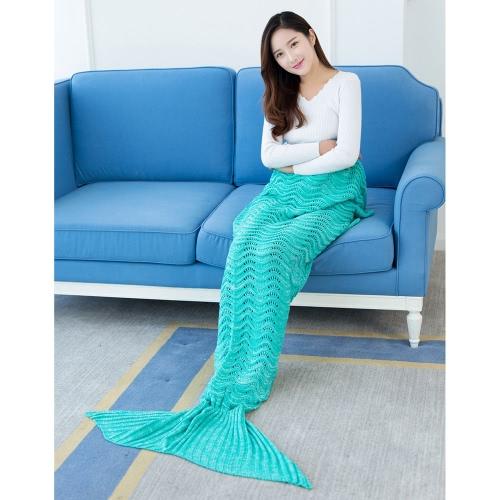 Fashion Beautiful Knitted Mermaid Tail Blanket Crochet Sleeping Bag 70.9 �� 35.4 Sofa Living Room for All Seasons Adult