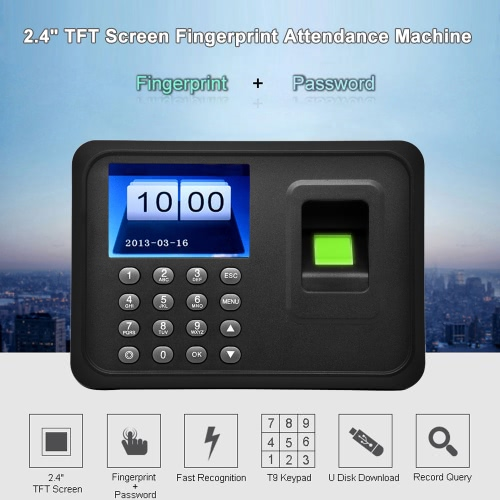 2.4 TFT LCD Display USB Biometric Fingerprint Attendance Machine DC 5V/1A Time Clock Recorder Employee Checking-in Reader A6Home &amp; Garden<br>2.4 TFT LCD Display USB Biometric Fingerprint Attendance Machine DC 5V/1A Time Clock Recorder Employee Checking-in Reader A6<br>