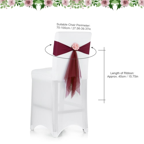 10PCS Wedding Banquet Decorations Organza Handmade Chair Cover Sashes With Artificial Rose Flower Events Supplies Party DecorationHome &amp; Garden<br>10PCS Wedding Banquet Decorations Organza Handmade Chair Cover Sashes With Artificial Rose Flower Events Supplies Party Decoration<br>