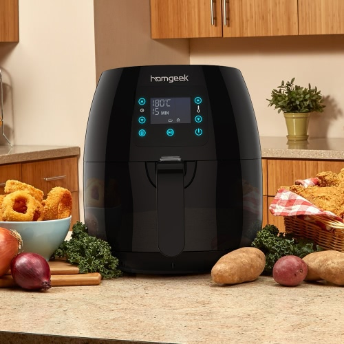 Homgeek Touch Control 3rd Generation Smart 2.4-Liter Fryer Basket Oil Free Air Fryer Black Stainless Steel Heating Tube Multi-funcHome &amp; Garden<br>Homgeek Touch Control 3rd Generation Smart 2.4-Liter Fryer Basket Oil Free Air Fryer Black Stainless Steel Heating Tube Multi-func<br>