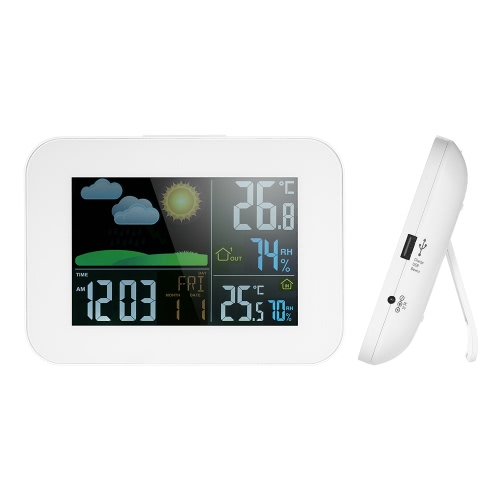Multi-functional Wireless Color LCD Weather Forecast Clock Indoor Outdoor Thermometer Hygrometer with USB 1A Output Alarm Snooze PHome &amp; Garden<br>Multi-functional Wireless Color LCD Weather Forecast Clock Indoor Outdoor Thermometer Hygrometer with USB 1A Output Alarm Snooze P<br>