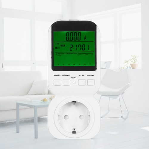 High Accuracy Power Energy Meter Socket LCD Display KWH Meter Watt Voltage Current Frequency Cost Monitor Overload Alarm AC230V EUHome &amp; Garden<br>High Accuracy Power Energy Meter Socket LCD Display KWH Meter Watt Voltage Current Frequency Cost Monitor Overload Alarm AC230V EU<br>