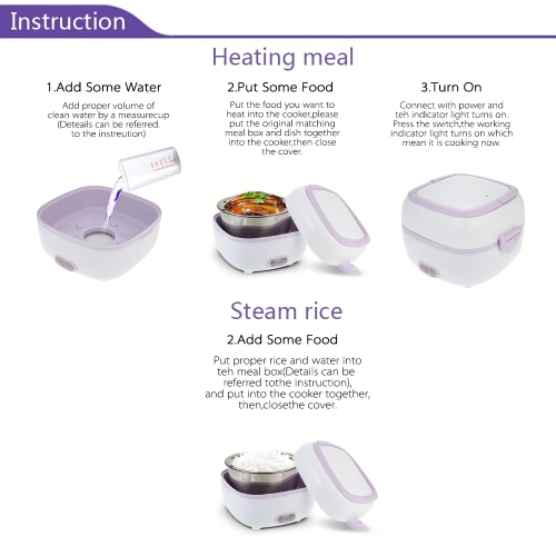 Multifunctional Mini Rice Cooker Electric Meal Box Thermal Insulation Lunch Box Electric Heating Lunch Box with SteamerHome &amp; Garden<br>Multifunctional Mini Rice Cooker Electric Meal Box Thermal Insulation Lunch Box Electric Heating Lunch Box with Steamer<br>