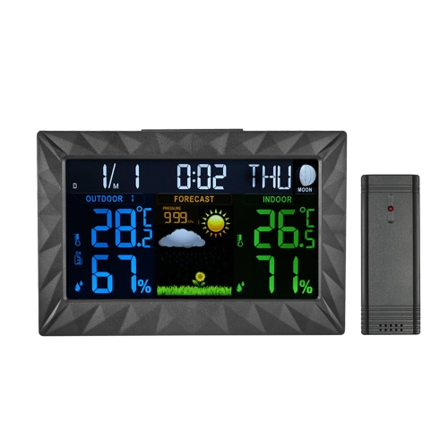 Multi-functional Wireless Color LCD Digital Clock Indoor Outdoor Thermometer Hygrometer Barometer Weather Forecast with Alarm SnooHome &amp; Garden<br>Multi-functional Wireless Color LCD Digital Clock Indoor Outdoor Thermometer Hygrometer Barometer Weather Forecast with Alarm Snoo<br>