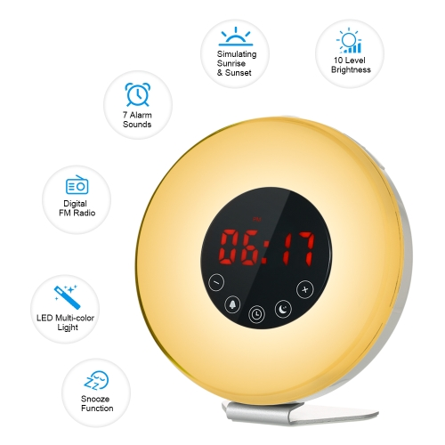 Wake Up Light Alarm Clock Sunrise/Sunset Simulation Digital Clock with FM Radio 7 Colors Night Light Nature Sounds Snooze FunctionHome &amp; Garden<br>Wake Up Light Alarm Clock Sunrise/Sunset Simulation Digital Clock with FM Radio 7 Colors Night Light Nature Sounds Snooze Function<br>