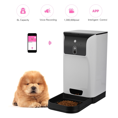 APP Automatic Pet Feeder Cat/Dog Food Dispenser 6L Storage with Camera Voice Recorder Wifi Connection Compatible for IOS/AndroidHome &amp; Garden<br>APP Automatic Pet Feeder Cat/Dog Food Dispenser 6L Storage with Camera Voice Recorder Wifi Connection Compatible for IOS/Android<br>