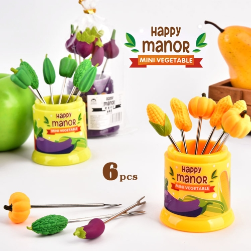 6Pcs Happy Manor Food Fruit Fork Set Party Cake Salad Vegetable Forks Dessert Picks Table Decor Tools Bento AccessoriesHome &amp; Garden<br>6Pcs Happy Manor Food Fruit Fork Set Party Cake Salad Vegetable Forks Dessert Picks Table Decor Tools Bento Accessories<br>