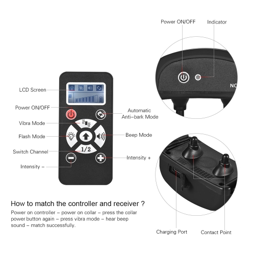 No Shock Dog Training Collar Vibra/Beep/Light Auto Anti Bark Collar 7 Intensity Level Waterproof Rechargeable 800yd Remote for SmaHome &amp; Garden<br>No Shock Dog Training Collar Vibra/Beep/Light Auto Anti Bark Collar 7 Intensity Level Waterproof Rechargeable 800yd Remote for Sma<br>