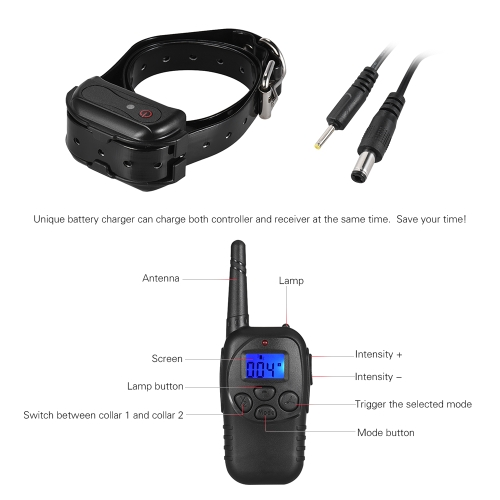 Dog Shock Training Collar Shock/Vibra/Beep/Lamp No Bark Collar 328yd Remote Waterproof Rechargeable for Large Medium Small DogHome &amp; Garden<br>Dog Shock Training Collar Shock/Vibra/Beep/Lamp No Bark Collar 328yd Remote Waterproof Rechargeable for Large Medium Small Dog<br>