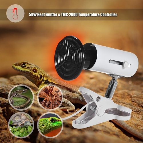 3pcs Terrarium Heat Emitter Set Includes 50W Ceramic Lamp Bulb &amp; Lamp Holder &amp; Temperature Controller Thermostat for Reptiles TurtHome &amp; Garden<br>3pcs Terrarium Heat Emitter Set Includes 50W Ceramic Lamp Bulb &amp; Lamp Holder &amp; Temperature Controller Thermostat for Reptiles Turt<br>