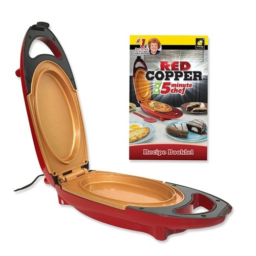 Red Copper 5 Minute Chef Electric Cooker Double-Coated Non-stick Quick Cooking Pan Cookware (E U Plug)