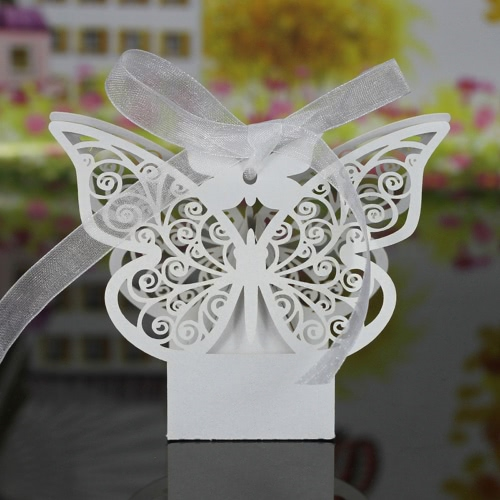 20 PCS Laser Cut Delicate Carved Butterfly Elegant Candy Boxes with Ribbon for Party Birthday Wedding Banquet Kindergarten BridalHome &amp; Garden<br>20 PCS Laser Cut Delicate Carved Butterfly Elegant Candy Boxes with Ribbon for Party Birthday Wedding Banquet Kindergarten Bridal<br>