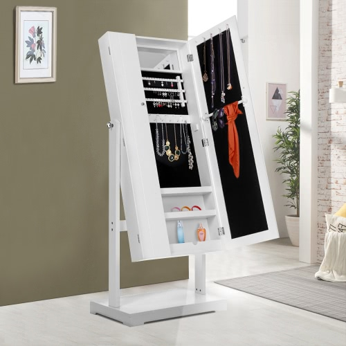 Fashion Standing Jewelry Cabinet Armoire Tilt Adjustable Jewelry Storage Box Organizer with Dressing MirrorHome &amp; Garden<br>Fashion Standing Jewelry Cabinet Armoire Tilt Adjustable Jewelry Storage Box Organizer with Dressing Mirror<br>
