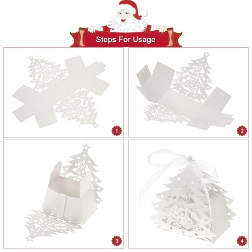 50pcs Delicate Carved Christmas Tree DIY Candy Cookie Gift Boxes with Ribbon for Christmas Day Party Wedding BanquetHome &amp; Garden<br>50pcs Delicate Carved Christmas Tree DIY Candy Cookie Gift Boxes with Ribbon for Christmas Day Party Wedding Banquet<br>