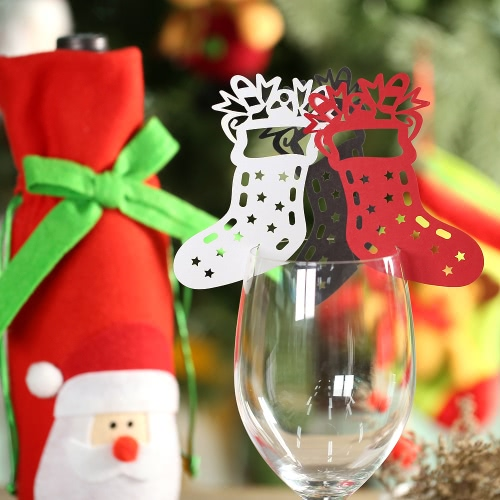 50pcs Delicate Carved Christmas Stockings Wine Glass Card Table Cards for Christmas Day Party Wedding Banquet DecorationHome &amp; Garden<br>50pcs Delicate Carved Christmas Stockings Wine Glass Card Table Cards for Christmas Day Party Wedding Banquet Decoration<br>