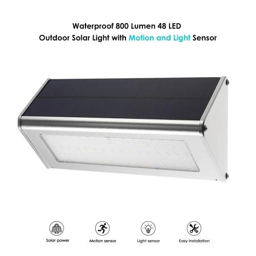 Outdoor Solar Light 48 LED 800 Lumen Motion Sensor Waterproof with Aluminum Alloy Housing Wall Garden Yard Fence Light Warm WhiteHome &amp; Garden<br>Outdoor Solar Light 48 LED 800 Lumen Motion Sensor Waterproof with Aluminum Alloy Housing Wall Garden Yard Fence Light Warm White<br>