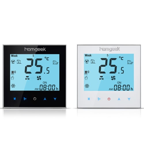 Homgeek 110~240V Air Conditioner 2-pipe Thermostat with LCD Display Good Quality Touch Screen Programmable Room Temperature ControHome &amp; Garden<br>Homgeek 110~240V Air Conditioner 2-pipe Thermostat with LCD Display Good Quality Touch Screen Programmable Room Temperature Contro<br>