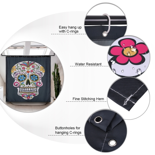 71*71 Skull Pattern Shower Curtain Size 180*180cm Polyester Fabric Water Resistant Bath Curtain with 12 C Ring HookHome &amp; Garden<br>71*71 Skull Pattern Shower Curtain Size 180*180cm Polyester Fabric Water Resistant Bath Curtain with 12 C Ring Hook<br>