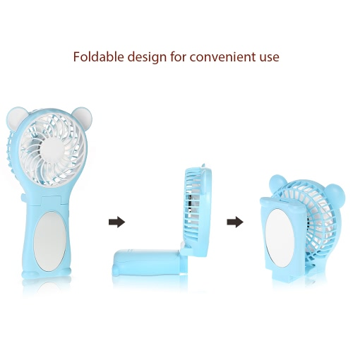 Portable Bear Shape Mirror Cute Mini Handheld Table Foldable Fan 2 Speed for Home Office USB Rechargeable With   Mirror FunctionHome &amp; Garden<br>Portable Bear Shape Mirror Cute Mini Handheld Table Foldable Fan 2 Speed for Home Office USB Rechargeable With   Mirror Function<br>