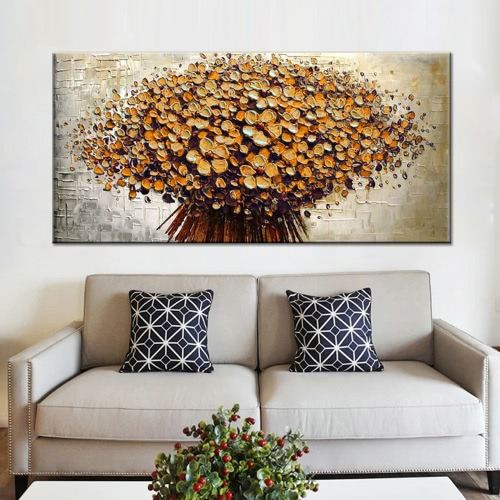 24*48 Hand Painted Oil Painting Unframed Canvas Floral Wall Picture Wall Decoration Painting Beautiful Room Decoration 60*120cmHome &amp; Garden<br>24*48 Hand Painted Oil Painting Unframed Canvas Floral Wall Picture Wall Decoration Painting Beautiful Room Decoration 60*120cm<br>