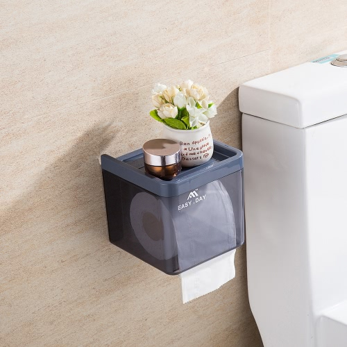 Plastic Wall Mounted Drawer Type Toilet Tissue Holder Bathroom Kitchen Tissue Paper Roll Cover with Sucker--GreyHome &amp; Garden<br>Plastic Wall Mounted Drawer Type Toilet Tissue Holder Bathroom Kitchen Tissue Paper Roll Cover with Sucker--Grey<br>
