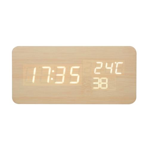 Wooden LED Digital Alarm Clock USB &amp; Battery Operated Sound Control Clock with Year Month Date / Hour Minute Second / TemperatureHome &amp; Garden<br>Wooden LED Digital Alarm Clock USB &amp; Battery Operated Sound Control Clock with Year Month Date / Hour Minute Second / Temperature<br>