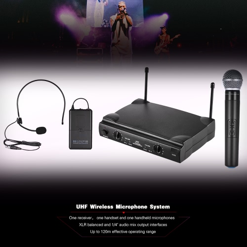 UHF Dual Channels Wireless Microphone Mic System with 1 Bodypack Transmitter 1 Headset and 1 Handheld Microphones Receiver 6.35mmToys &amp; Hobbies<br>UHF Dual Channels Wireless Microphone Mic System with 1 Bodypack Transmitter 1 Headset and 1 Handheld Microphones Receiver 6.35mm<br>