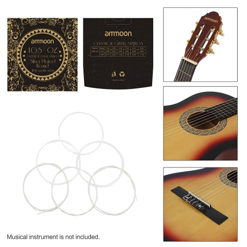 ammoon AGS-02 Classical Guitar Strings Transparent Nylon Silver-Plated Copper Normal Tension 6-Pack (.028-.045)Toys &amp; Hobbies<br>ammoon AGS-02 Classical Guitar Strings Transparent Nylon Silver-Plated Copper Normal Tension 6-Pack (.028-.045)<br>