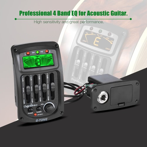 Cherub GS-3 Acoustic 4-Band EQ Equalizer Guitar Preamp Piezo Amplifier with Tuner and Phase Function LCD DisplayToys &amp; Hobbies<br>Cherub GS-3 Acoustic 4-Band EQ Equalizer Guitar Preamp Piezo Amplifier with Tuner and Phase Function LCD Display<br>