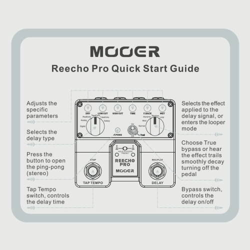 MOOER Reecho Pro Digital Delay Guitar Effect Pedal Twin Footswitch with 6 Delay Effects Loop Recording (20 Seconds) FunctionToys &amp; Hobbies<br>MOOER Reecho Pro Digital Delay Guitar Effect Pedal Twin Footswitch with 6 Delay Effects Loop Recording (20 Seconds) Function<br>