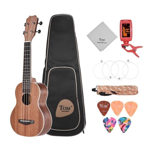 TOM TUS-200B 21 Acoustic Soprano Ukulele Ukelele Uke Kit Sapele Wood with Carrying Bag Strap Strings Clip-on Tuner Cleaning Cloth Celluloid Picks