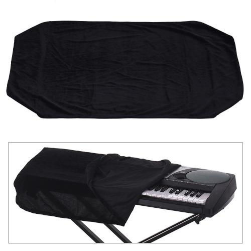 61/76キー電子ピアノキーボードダストカバー黒い柔らかい布ダストプロテクター