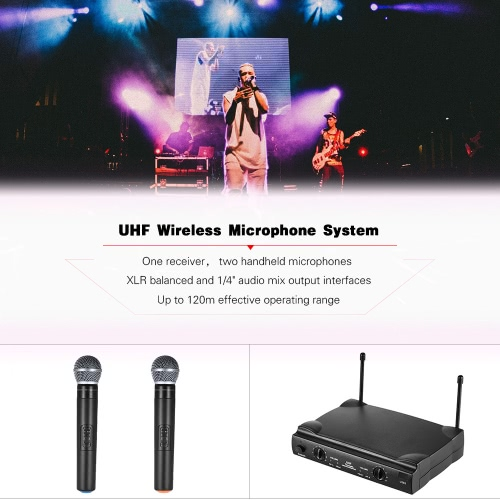 UHF Dual Channels Wireless Microphone Mic System with 1 Receiver 2 Handheld Microphones 6.35mm Audio Cable Power Adapter for KaraoToys &amp; Hobbies<br>UHF Dual Channels Wireless Microphone Mic System with 1 Receiver 2 Handheld Microphones 6.35mm Audio Cable Power Adapter for Karao<br>