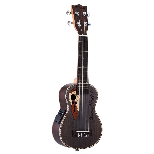 ammoon Spruce 21 Acoustic Ukulele 15 Fret 4 Strings Stringed Musical Instrument with Built-in EQ Pickup