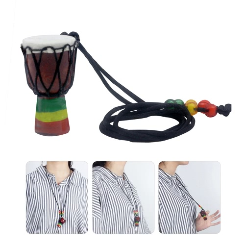 Handmade Dejembe African Drum Necklace Percussion Instrument Accessories Wood Color with Black WireToys &amp; Hobbies<br>Handmade Dejembe African Drum Necklace Percussion Instrument Accessories Wood Color with Black Wire<br>