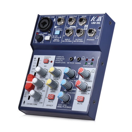ICM UM-36 Compact Size 4-Channel Sound Card Mixing Console Digital Audio Mixer Supports 5V Power Bank USB Power Supply Built-in 48Toys &amp; Hobbies<br>ICM UM-36 Compact Size 4-Channel Sound Card Mixing Console Digital Audio Mixer Supports 5V Power Bank USB Power Supply Built-in 48<br>