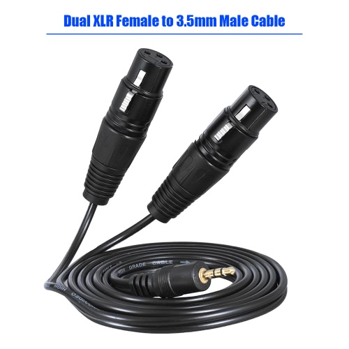 1.5m/ 5ft Audio Cable Cord Dual XLR Female to 3.5mm Male PlugToys &amp; Hobbies<br>1.5m/ 5ft Audio Cable Cord Dual XLR Female to 3.5mm Male Plug<br>