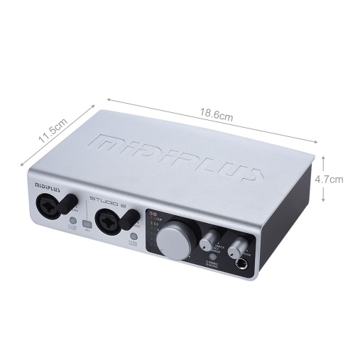 MIDIPLUS STUDIO 2 USB Audio Interface Sound Card 2 Inputs 2 Outputs 24bit/ 192kHz High Precision Sampling 48V Phantom Power with UToys &amp; Hobbies<br>MIDIPLUS STUDIO 2 USB Audio Interface Sound Card 2 Inputs 2 Outputs 24bit/ 192kHz High Precision Sampling 48V Phantom Power with U<br>