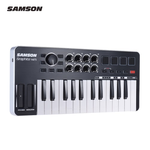 SAMSON Graphite M25 Ultra-Portable Mini 25-Key USB MIDI Keyboard Controller with USB Cable (4 Pads/ 8 Assignable Knobs)Toys &amp; Hobbies<br>SAMSON Graphite M25 Ultra-Portable Mini 25-Key USB MIDI Keyboard Controller with USB Cable (4 Pads/ 8 Assignable Knobs)<br>
