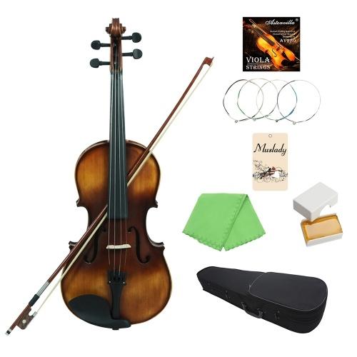 Muslady VLA-30 4/4フルサイズクラシックビオラトウヒトップボードローズウッド指板付きキャリーケースロジンクリーニングクロスバイオリン弦
