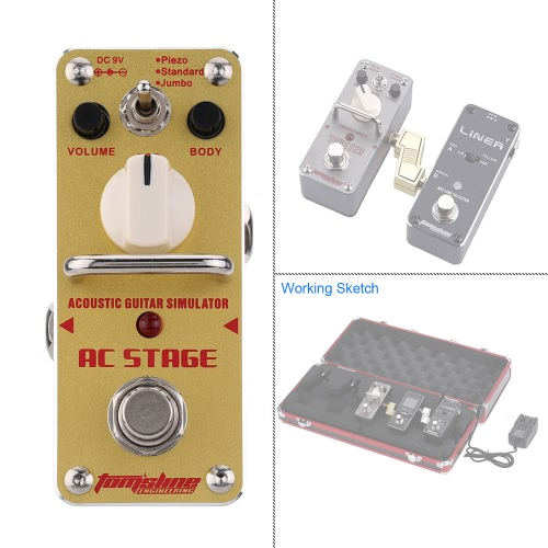 AROMA AAS-3 AC Stage Acoustic Guitar Simulator Mini Single Electric Guitar Effect Pedal with True BypassToys &amp; Hobbies<br>AROMA AAS-3 AC Stage Acoustic Guitar Simulator Mini Single Electric Guitar Effect Pedal with True Bypass<br>